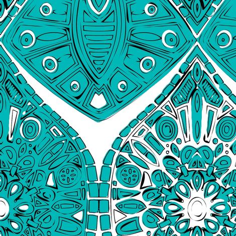 saffreya turquoise fabric by scrummy on Spoonflower - custom fabric
