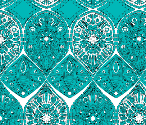 saffreya turquoise fabric by scrummy on Spoonflower - custom fabric