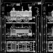 vintage train illistrations black