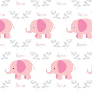Elephants in A Row - Pink/Gray  personalized