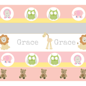 Garden Stripes Friends-Pink-personalized