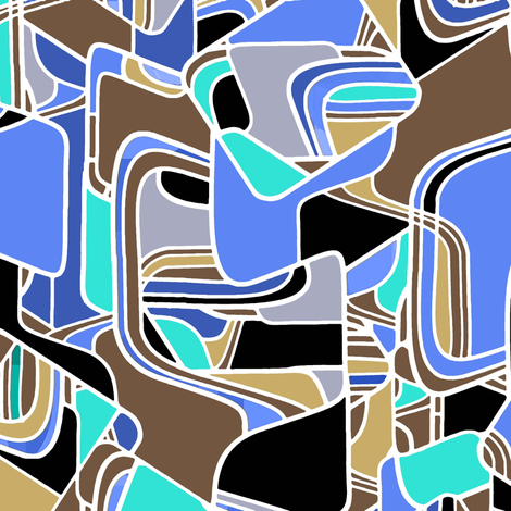 Danish Modern in blue  fabric by joanmclemore on Spoonflower - custom fabric