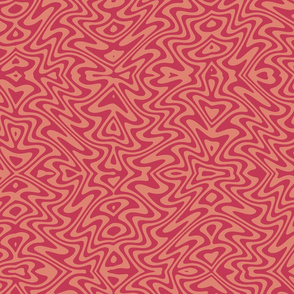 art nouveau butterfly swirl in red and blush