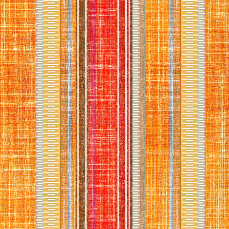 Faux Linen stripe Sundown orange fabric by joanmclemore on Spoonflower - custom fabric