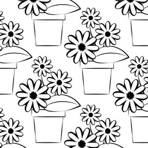 Flower Pots to Color