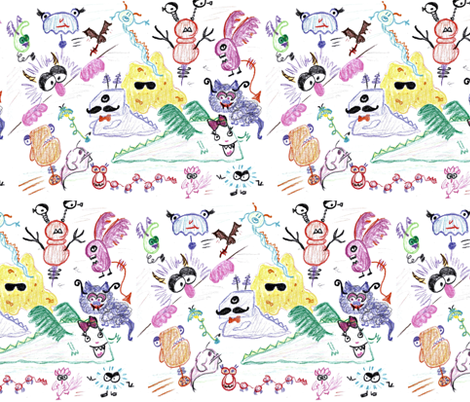 monsters_offset2-ed fabric by live&cre8 on Spoonflower - custom fabric