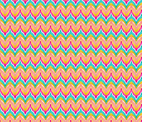 Watercolor Ikat Chevron Teal Peach Small fabric by emilysanford on Spoonflower - custom fabric