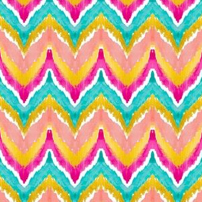 Watercolor Ikat Chevron Teal Peach Small