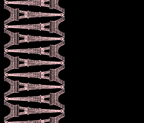 Paris ~ Eiffel For You ~ Black and Pink ~ Reverse ~ Border Print fabric by peacoquettedesigns on Spoonflower - custom fabric