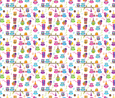 Birthday Owls fabric by id_designs on Spoonflower - custom fabric