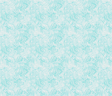 Watercolor Wavy Paisley in Blue Mini fabric by emilysanford on Spoonflower - custom fabric