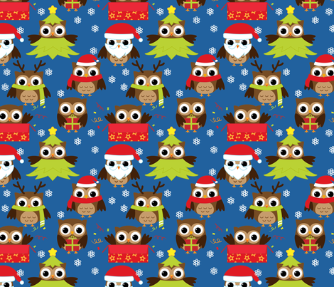 Holiday Owls fabric by id_designs on Spoonflower - custom fabric