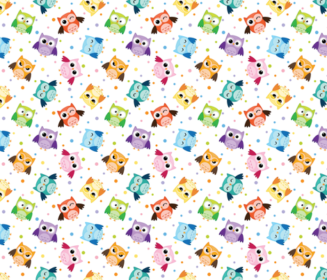 Colorful Owls fabric by id_designs on Spoonflower - custom fabric