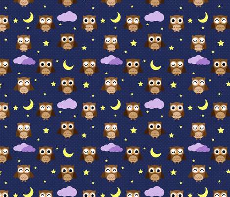 Sleepy Owls fabric by id_designs on Spoonflower - custom fabric