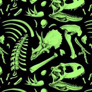 dino bones - neon green