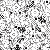 Blooms and Bugs - Coloring Book Wallpaper