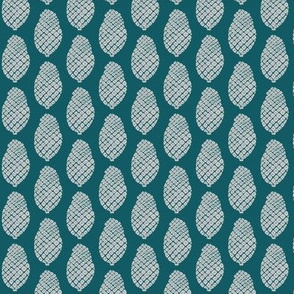 scattered pine cones grey on teal