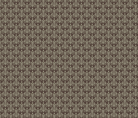 Lotus Damask Brown Olive Green Fabric Studiofibonacci