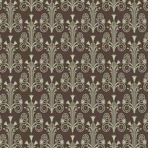 Lotus Damask - Brown/Olive Green