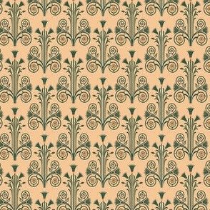 Lotus Damask - Green/Orange