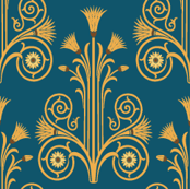 Lotus Damask - Blue/Gold