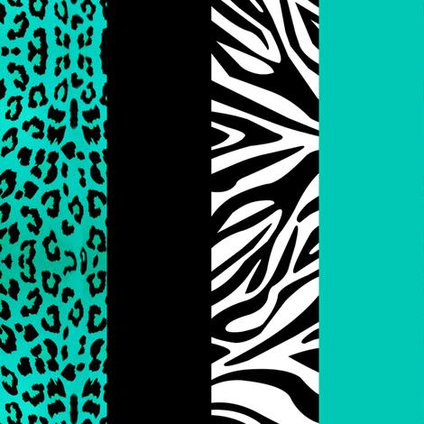 Aqua Animal Print - Leopard and Zebra