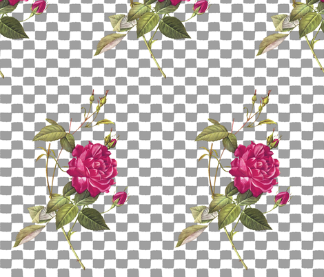 rose_with_a_checkered_past_grey fabric by mammajamma on Spoonflower - custom fabric