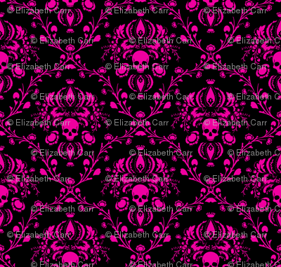 Pink on Black Skull Damask