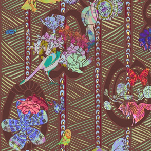 Ghana Floral with Birds in Colors