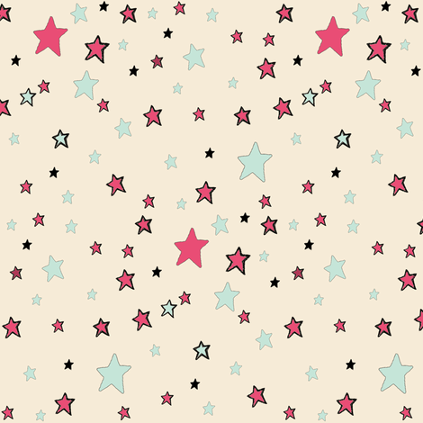 Paper Moon Collection -  Teal Red and Cream Stars on Cappuccino Cream
