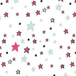 Paper Moon Collection -  Teal Red and Mint Green Stars on White