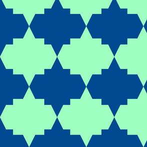 Modern Aztec Quatrefoil Navy Green