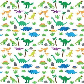 Retro pixel dinosaurs