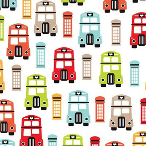 Colorful retro London bus pattern
