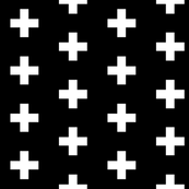 White Crosses on Black - Black Plus Signs