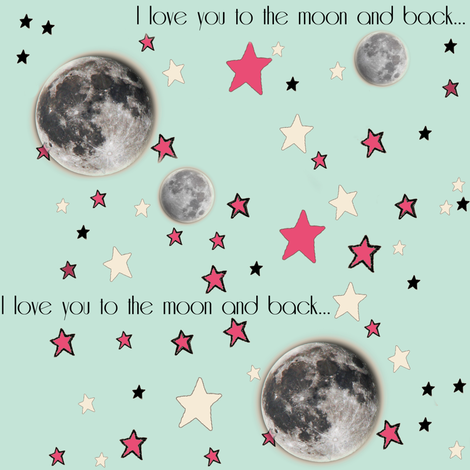 "Paper Moon Collection - Mint Green Moon & Stars ""I love you to the moon and back"""