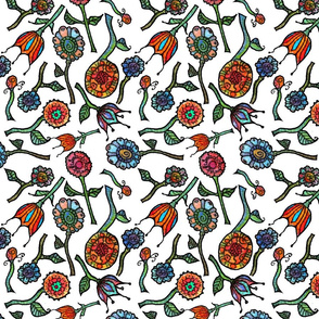 Flowers - Floral Allover on White
