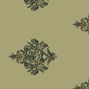 Gothic's Skull Damask in Earthy Spa Neutrals (wide print)
