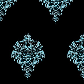 Gothic's Skull Damask - blue and black for Kristal