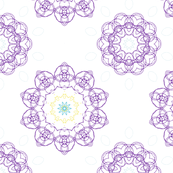 Purple, Yellow & Blue Flowery Ornamental Design