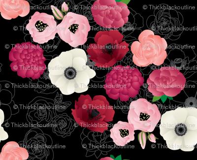 Black & Pink Flowers Midnight