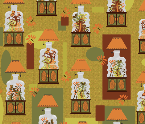 Terrariums of the 70s! fabric by joojoostrees on Spoonflower - custom fabric