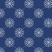 Denim Blue Asian Inspired Abstract Flower Pattern