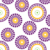 Purple, Yellow & Green Abstract Flower Pattern