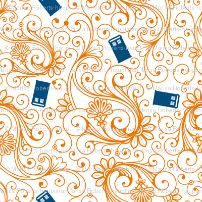 Blue phone boxes on orange swirl