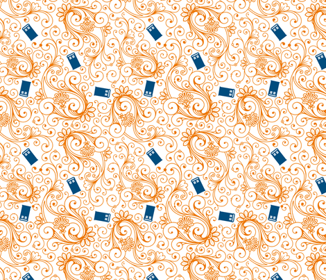 Blue phone boxes on orange swirl fabric by risarocksit on Spoonflower - custom fabric
