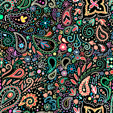 blacklight chalkboard paisley