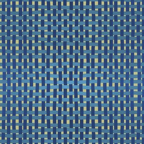 Woven blues on pale gold by Su_G