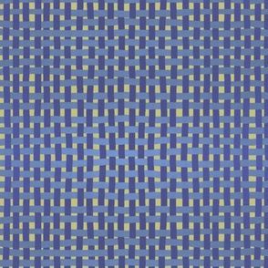 Woven indigo and lilac on pale gold by Su_G
