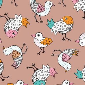 Quirky vintage doodle birds